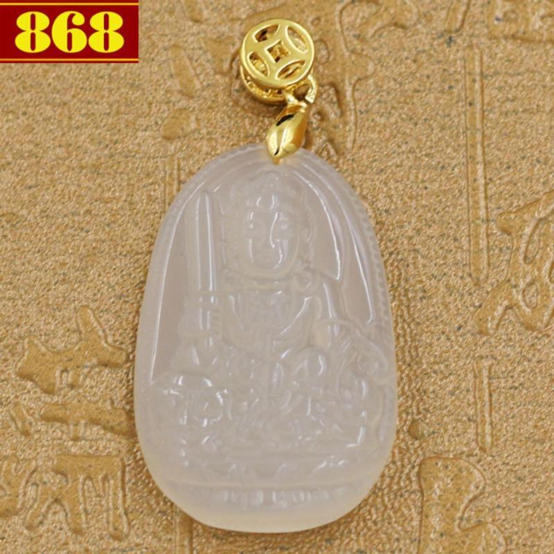 Mặt dây chuyền Văn Thù Bồ Tát đá thạch anh trắng 3.6cm