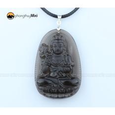 Mặt Dây Phật Bản Mệnh Đại Thế Chí Bồ Tát Đá Thạch Anh khói