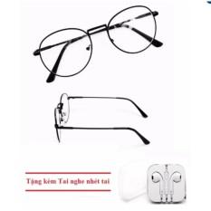 Hình ảnh Mắt kính ngố giả cận Nobita thời trang (đen) + Tặng kèm Tai nghe nhét tai đẹp