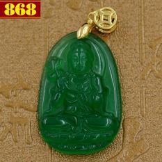 Mặt Phật Đại Thế Chí Bồ Tát size nhỏ 3.6 cm - đá thạch anh xanh