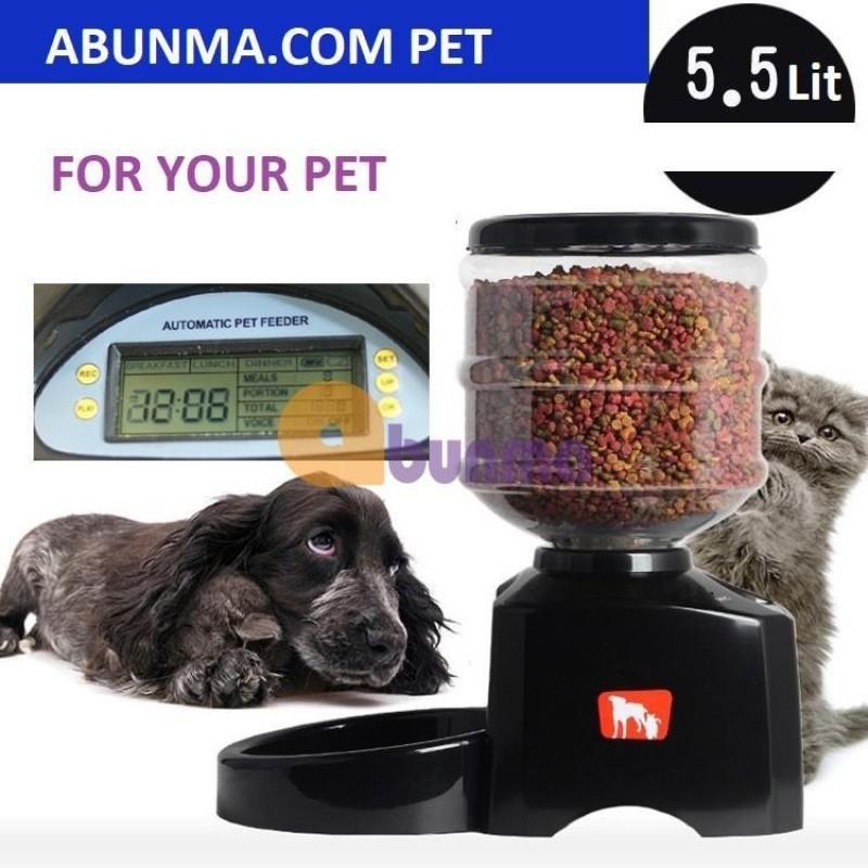 Máy tự động hẹn giờ cho Pet ăn (Chó, mèo) PFD-01, Máy cho chó ăn 3 bữa, bình chứa 5.5 lit - Đen