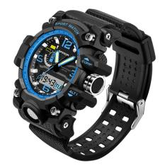 Giá Bán Men Waterproof Digital Multi Function Outdoor Sports Running Electronic Wrist Watch With Three Pointers Black Blue Intl Mới