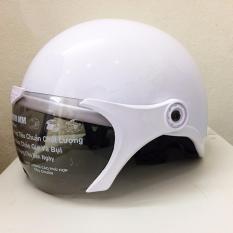 Mũ Bảo Hiểm Km1 Ak Trắng Bong Nguyên