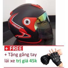 Mua Mũ Bảo Hiểm Moto Napoli Viền Đỏ Tặng Găng Tay Lai Xe Trị Gia 45K Rẻ Hồ Chí Minh