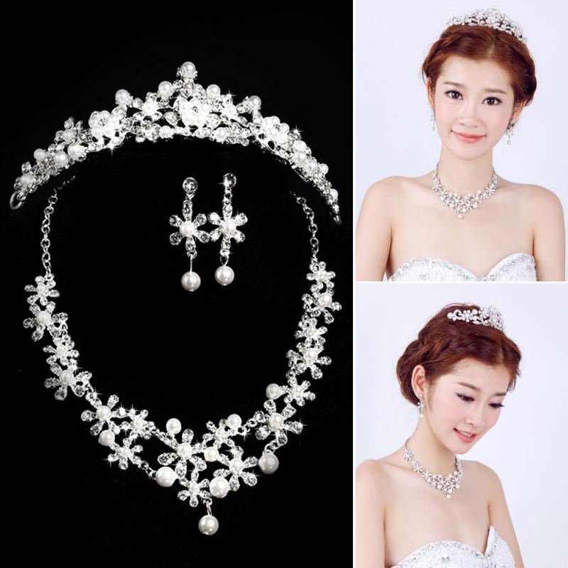 New Elegant Luxurious Rhinestone Pearl Necklace Earring Crown Set Wedding  - intl