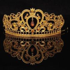 Vàng mới Cô Dâu Tiaras Vương Miện Pha lê Vũ Hội Thi Cưới Phụ Kiện Mũ Trụ Đầu Cưới Tiara-quốc tế