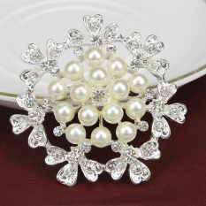 New Korean Pearl Flower Corsage Diamond Snowflake Brooch Pin Jewelry - intl