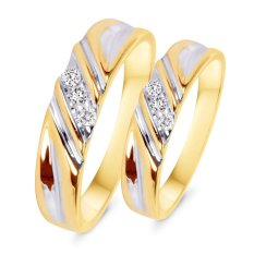 Nhẫn cặp bạc mạ vàng 14k đá kim cương nhân tạo - NCAP81.