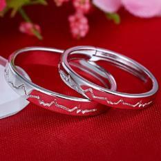 Nhẫn đôi thời trang tình yêu nhịp tim sang trọng HHN-JZ136(Bạch Kim)