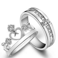 Nhẫn đôi thời trang tình yêu Freesize vương miện đính đá lấp lánh JZ72(Bạch Kim)