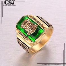 Ôn Tập Nhẫn Inox Nam Sư Tử Mạ Vang Đa Xanh La Mẫu N543 Mtj Minh Tue Jewelry