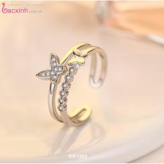 Nhẫn nữ trang sức bạc Ý S925 Bạc Xinh - Đôi bướm xinh RR1303