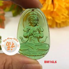 Mặt Dây Chuyền Phật Bản Mệnh Như Lai Đại Nhật Lưu Ly Xanh Lá Nhỏ