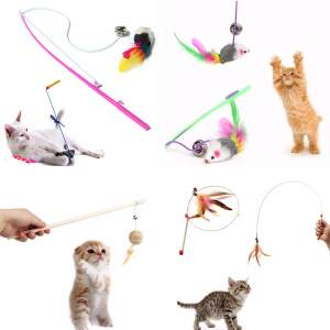 Hình ảnh Novelty Funny Cat Teaser Pet Play Length Interactive Toy Wand Mouse Ball Feather Mouse - intl