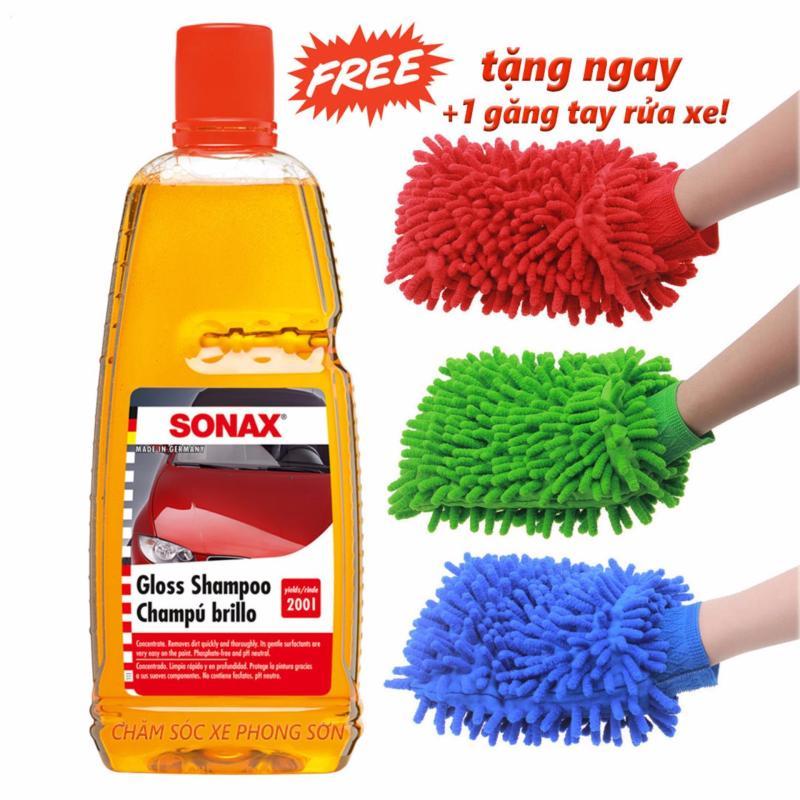 Nước rửa xe đậm đặc SONAX 1L Tặng kèm Găng Tay Rửa Xe