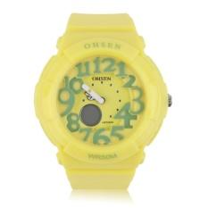 Giá bán OH Mens Women Kids LED Light Rubber Band Outdoor Sport Wrist Watch Waterproof Yellow