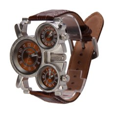 Oulm Men's Watch with Brown 3-Movt Dial Brown 23mm Stainless Steel Band