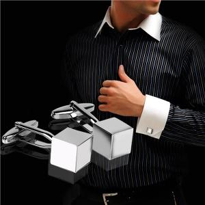 Hình thu nhỏ Pair of Men's Cube Shaped Stainless Steel Cufflinks Sleeves Buttons (Silver) - intl