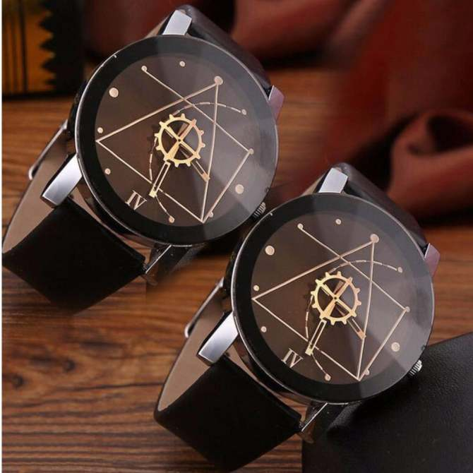 Đồng hồ đeo tây PAlight 2 cái bằng da dành cho cặp đôi (màu Đen dành cho Nam lẫn nữ)