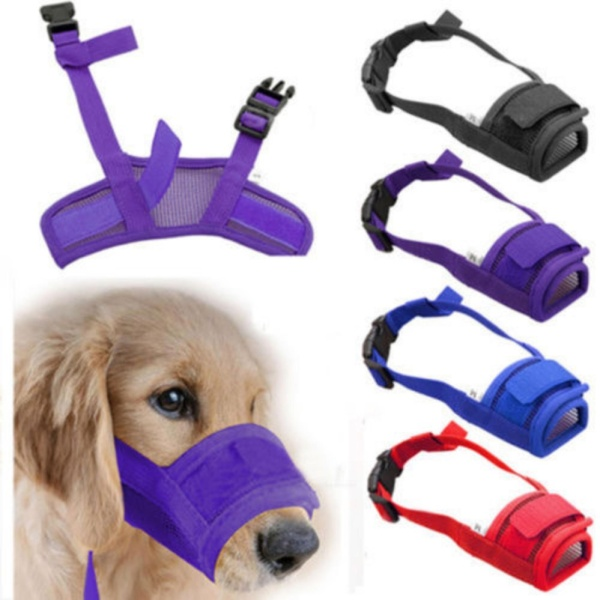 Pet Dog Adjustable Mask Bark Bite Mesh Mouth Muzzle Grooming Anti Chewing Red Size M - intl