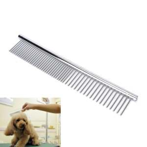 Hình ảnh Pet Puppy Dog Cat Stainless Steel Comb Long Hair Shedding Grooming Flea Comb - intl