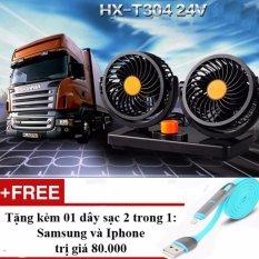 Bán Mua Trực Tuyến Quạt Đoi Xoay 360 Độ Tren Xe O To Hx T303 12V Tặng Day Sạc Điện Thoại 2 Trong 1 Cho Iphone Va Samsung