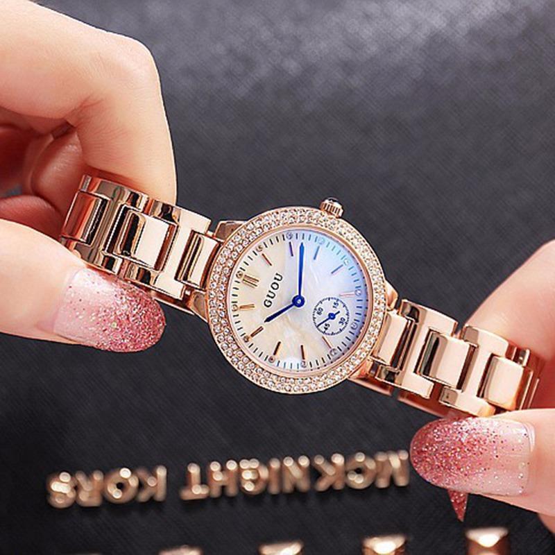 Nơi bán [RẺ ĐỪNG HỎI] Đồng hồ nữ GUOU 3 kim chạy viền đá dây thép sang trọng G42-56