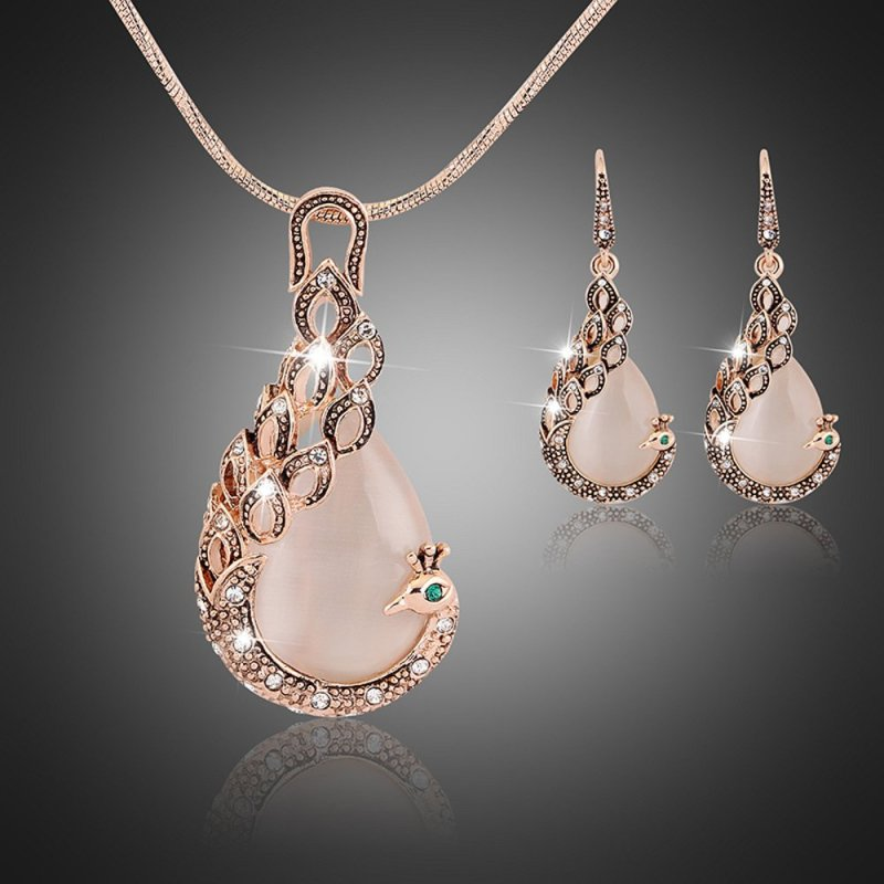 Rich Long Rose Gold Plated Gemstone Crystal Rhinestone Necklace Earrings Jewelry Sets - intl