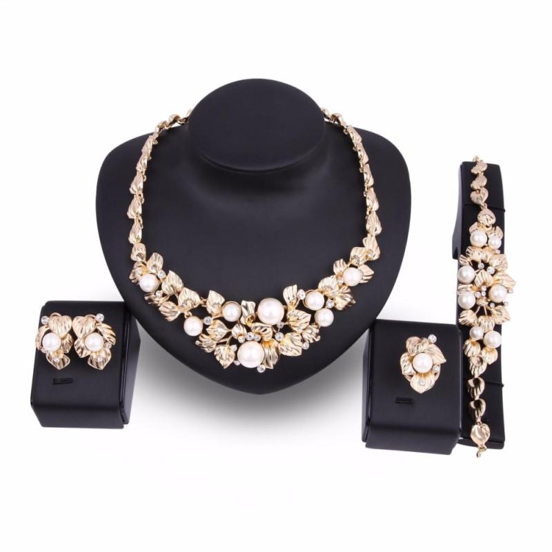 Phong phú Dài Hoa Hồng Mạ Vàng nữ Vintage Tiệc Cưới Giả Ngọc Trai Đá Vòng Cổ và Bông Tai & Vòng Tay và Nhẫn bộ trang sức-quốc tế
