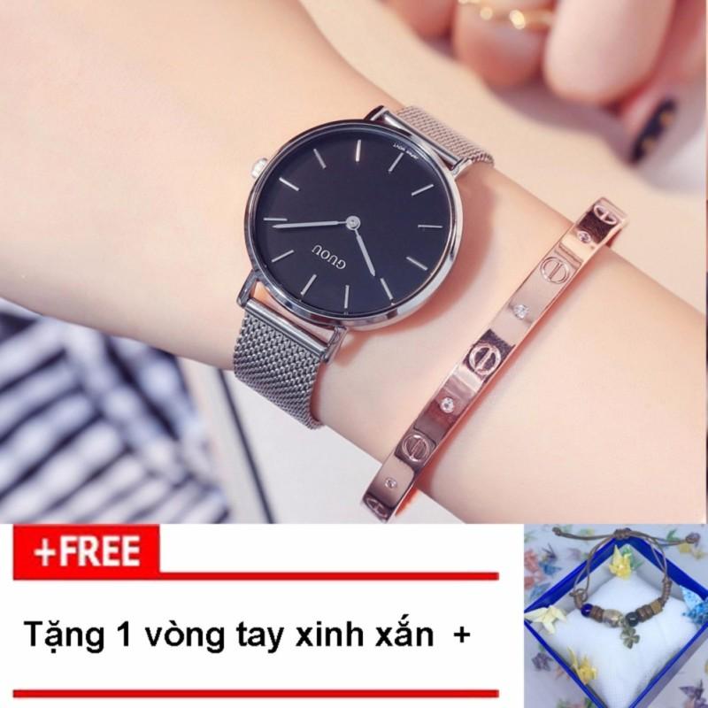 Nơi bán [RINH QUÀ KHI MUA] Đồng hồ nữ thương hiệu GUOU dây thép lụa 2 kim G48-4, tặng vòng tay thời trang