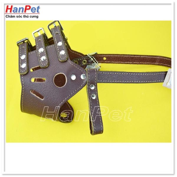 HCM-Rọ mõm chó lớn 20-35kg bằng da kiểu chống sủa- size XL ( 375h)-HP10486TC
