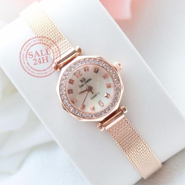 [SALE24h] Đồng hồ nữ đính đá thời trang cao cấp Bee Sister FA1419 ( pink gold )