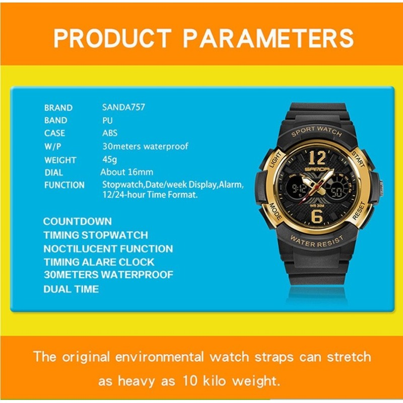 Brand Watch Casual Fashion Quartz Watches Mens Sports Digital Watch Kids Girl Shock Resistant Waterproof Clock Women Relogio Masculino 757 - intl bán chạy
