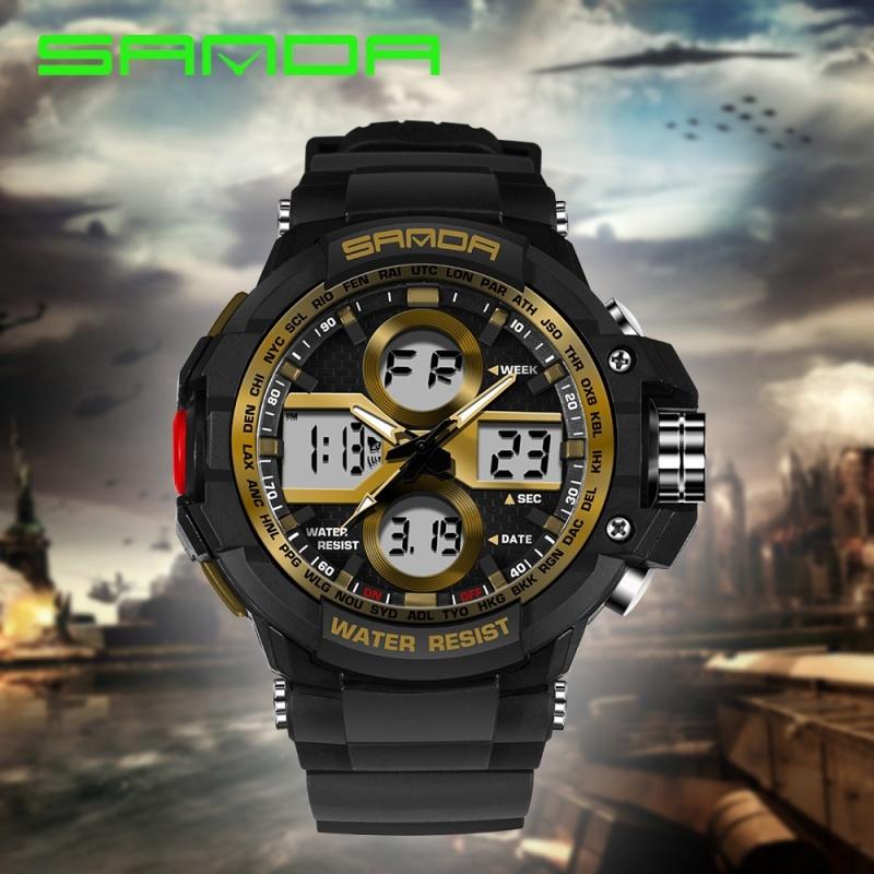 Nơi bán SANDA Sport Super Cool Student Digital Watch with Luminous Pedometer Date&Week&Month Display Wrist Watch - intl