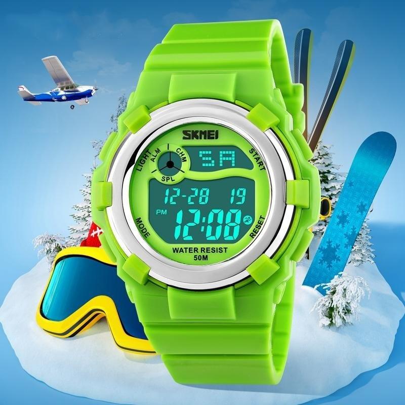 SKMEI Brand Childrens Digital LED Display Sports Cartoon Jelly 50M Waterproof Calendar Clock Auto Date Chrono Wristwatch - intl bán chạy