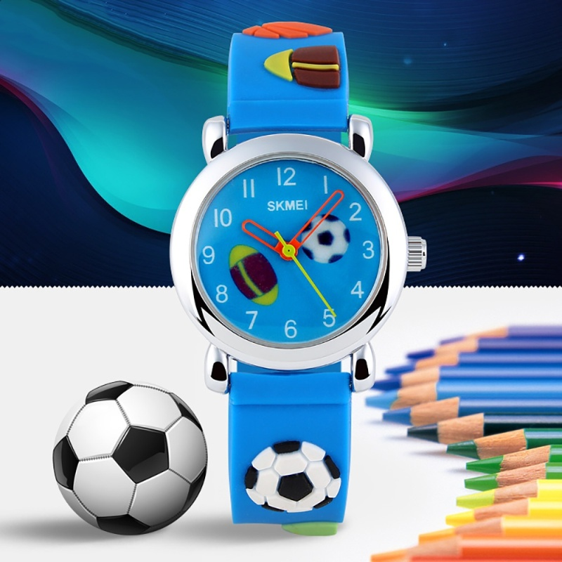 SKMEI Brand Watch Cartoon Cute Quartz Watch for Children Kids Boys Girls Waterproof Football Barbie Soft Silicone 1047 - intl bán chạy