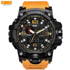 Cửa Hàng Smael 1545 Pure Color Band Waterproof Sport Watch Digital Analog Dual Display Japan Quartz Watch Gold Orange Intl Smael Trung Quốc