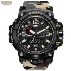 Chiết Khấu Sản Phẩm Smael 1545 Waterproof Camouflage Military Pu Digital Watch Led Digital Dual Display Electronic Watch Khaki Intl
