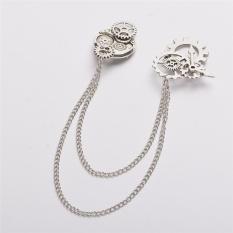 Steampunk Gears Brooch Chain Vintage Goth Punk Collar Pins Lolita Accessory (ANTIQUE SILVER) - intl