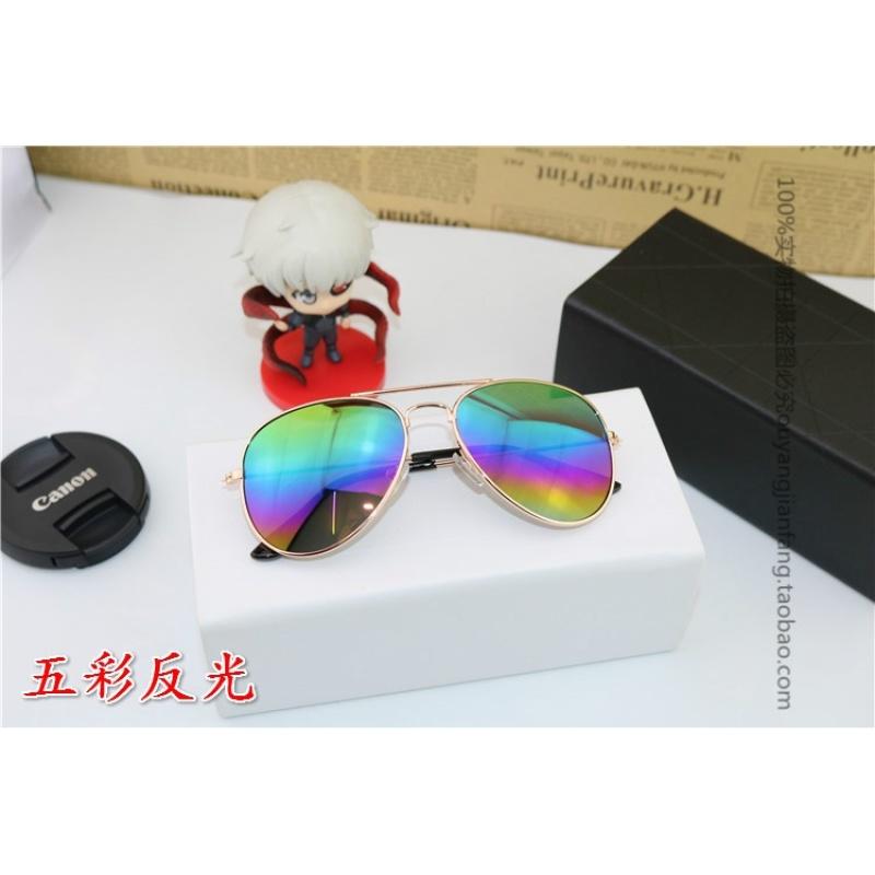 Mua The tide of childrens sunglasses sunglasses boy girl Sunglasses UV metallic glasses toad mirror shade (green) in children - intl