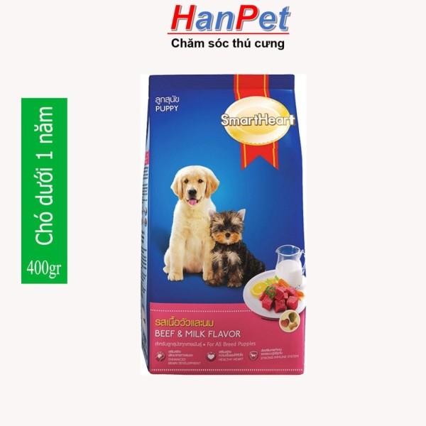 HN-(Gói 400g và bao 8kg-20gói) thức ăn dạng hạt cao cấp Smartheart Puppy DÀNH CHO CHÓ DƯỚI 1 NĂM TUỔI (hanpet 215)