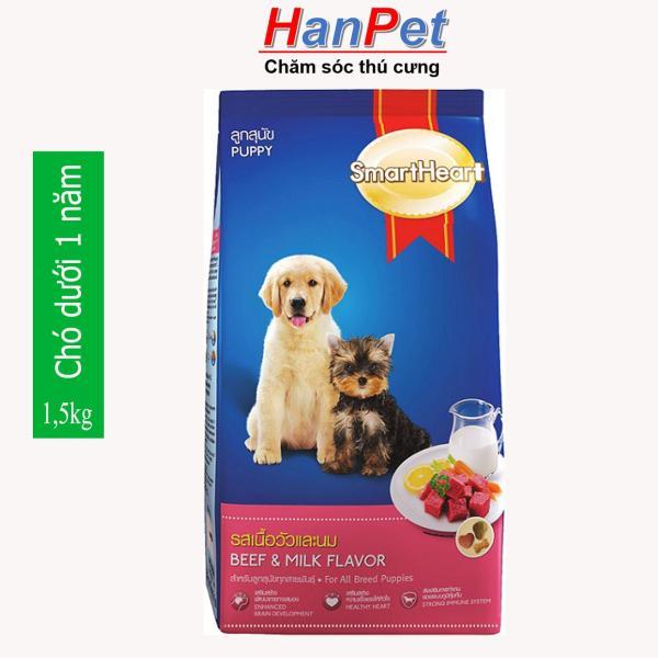 HN-thức ăn  dạng hạt cao cấp Smartheart Puppy (dành cho chó dưới 1 năm tuổi) gói 1,5kg (hanpet 215c)