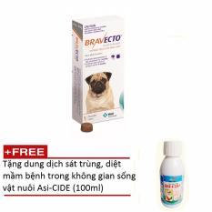 Thuốc phòng trị ghẻ, rận tai, ve, bọ chét và viêm da trên chó: 1 viên BRAVECTO small (chó 4,5-10 kg) + Tặng 1 chai dung dịch diệt virus không gian sống vật nuôi Asi-CIDE (100ml) Nhật Bản