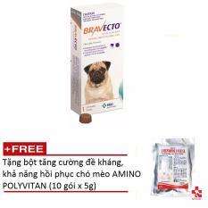 Thuốc phòng trị ghẻ, rận tai, ve, bọ chét và viêm da trên chó: 1 viên BRAVECTO small (chó 4,5-10 kg) + Tặng 10 Gói tăng cường đề kháng, khả năng hồi phục AMINOPOLYVITAN 5g Nhật Bản