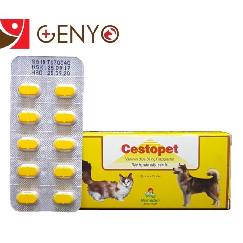 Thuốc tẩy giun sán cho chó mèo - Thuốc tẩy giun đũa chó mèo - Vemedim Cestopest Vỉ 10 viên