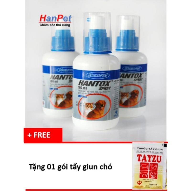 Hanapet-Thuốc trị ve, ghẻ, chấy, rận, bọ chét trên chó mèo, dạng xịt 100ml -  310 (tặng 1 gói tẩy giun chó).