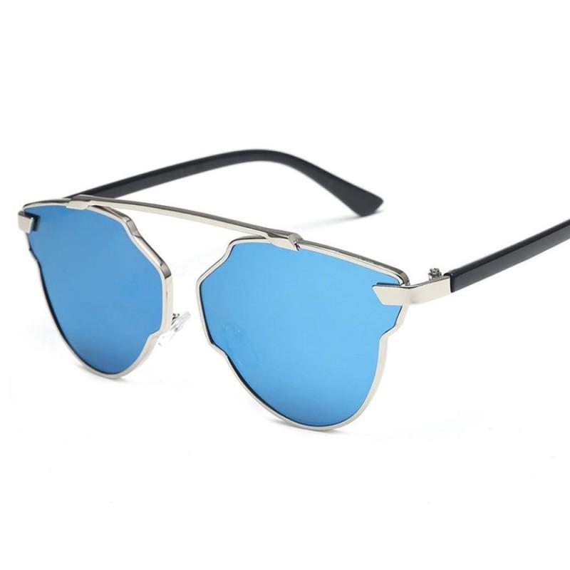 Giá bán TOP SALE Unisex Men Women Vintage Style Fashion Mirror Sunglasses UV 400 (Blue) - intl