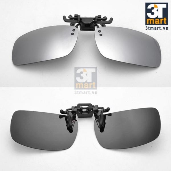 Giá bán Tròng kính mát kẹp phân cực cho người cận 3Tmart RE02BG (bạc tráng gương)