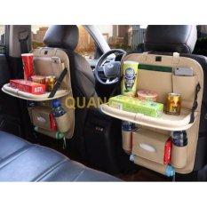 Túi chứa đồ lưng ghế xe ô tô kiêm khay đựng thức ăn bằng Da PU cao cấp - Trắng