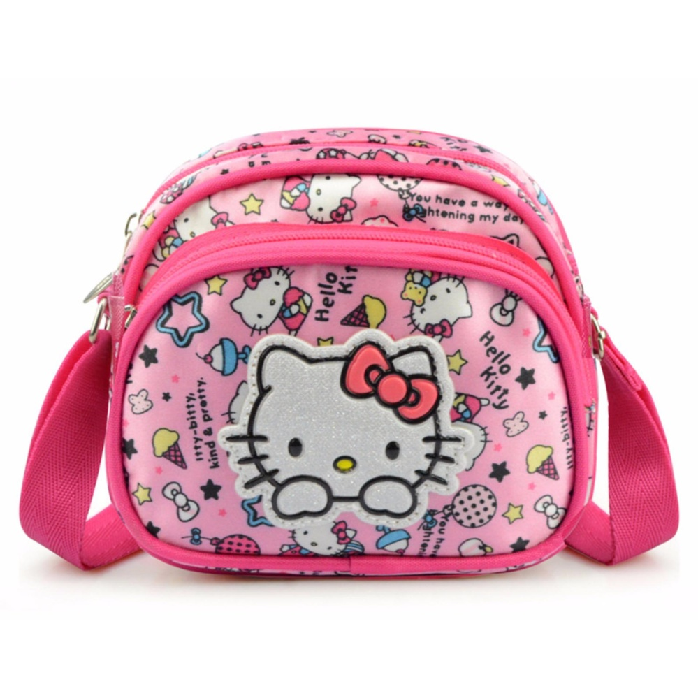 Túi đeo chéo mini màu hồng dễ thương dành cho các bé gái + Tặng 01 móc gắn đỡ điện thoại đa năng